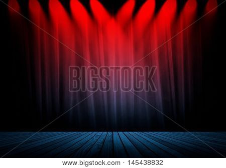 red spotlight with curtain background