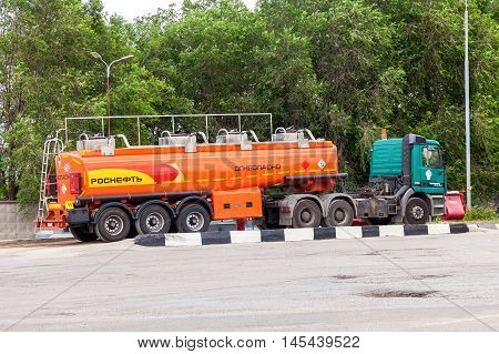 SAMARA RUSSIA - JUNE 25 2016: Rosneft Oil Truck at the gas station. Rosneft is one of the largest russian oil companies