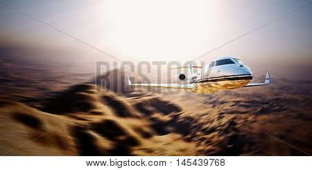 Picture of silver modern and luxury generic design private jet flying in blue sky sunrise.Uninhabited desert mountains background.Business travel picture.Horizontal, motion blurred effect. 3D rendering