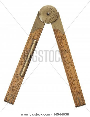 Antique Carpenter's Boxwood Folding Rule Marked Rabone With Brass Level And Protractor Isolated On W