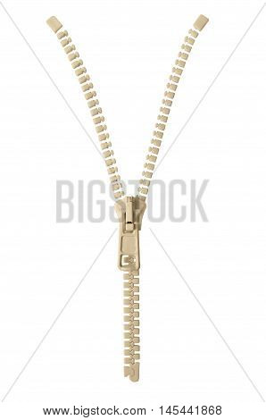 Open beige zipper pull concept unzip metaphor, isolated macro closeup detail, large detailed partially opened half zippered blank empty copy space, unzipped background, vertical studio shot