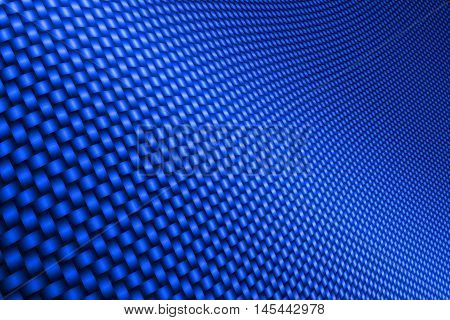 blue curve carbon fiber on the black shadow. car accessories. background and texture. 3d illustration.