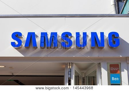 Amsterdam, The Netherlands - August 23, 2016: Samsung logo. Samsung is a South Korean multinational conglomerate company headquartered in Samsung Town, Seoul.