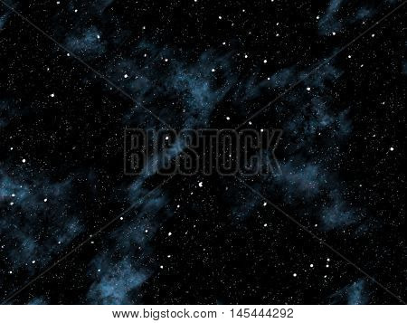 Small and medium sized stars on the planet cloudy black sky.