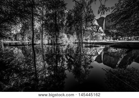 Yosemite Falls Reflection In The Merced River Black And White