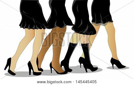 A collection of female legs walking all wearing a little black dress