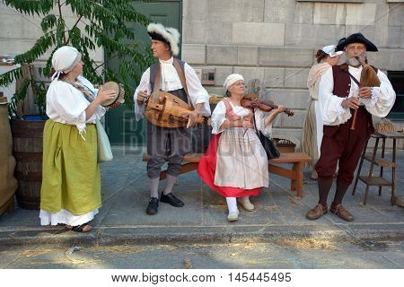 MONTREAL QUEBEC CANADA AUGUST 24 2016: People re-enacting New France era in Old Montreal, Pointe-a-Calliere's 18th Century Public Market
