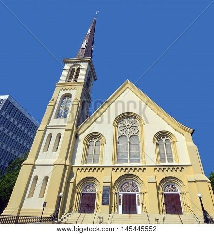 CHARLESTON SC USA 06 25 2016: Citadel Square Baptist Church was the fourth Baptist church built in Charleston South Carolina. The church began as an outgrowth of the First Baptist Church when, in 1854