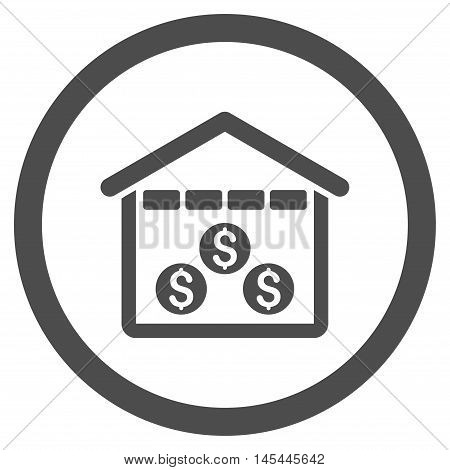 Money Depository rounded icon. Vector illustration style is flat iconic symbol, gray color, white background.