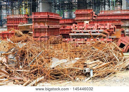 Scrap iron plate at the site construction