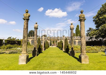 CHATSWORTH, UK - SEPTEMBER 1:  Rose garden and first duke's greenhouse at Chatsworth House (in the Peak District, England), home of the Duke and Duchess of Devonshire (Cavendish family) is the Country's most visited stately home. September 1, 2016.