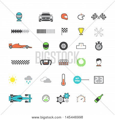 Racing colored icon set. Motorsport icons. Vector illustration
