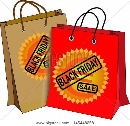 Black friday. Vector illustration of two bags in red and brown with Black friday icon ando euro simbol