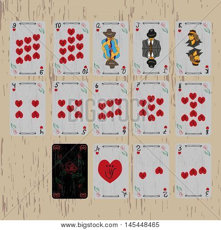 deck of playing cards of the same suit