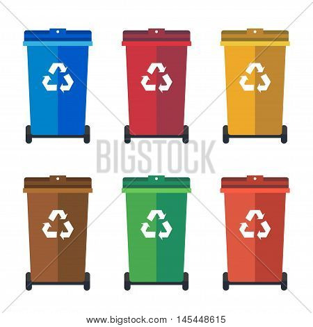 Different Colored wheelie bins trash bins sorting garbage vector flat illustration