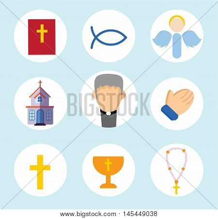 Set with Religion vector icons  flat set