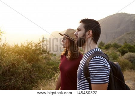 Sweet Young Couple Surrounded By Mountains