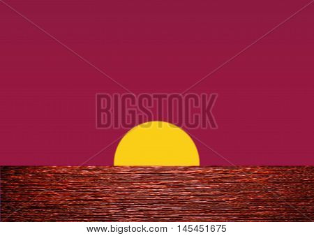 Sunset over Water with sun halfway on water-line giving a reddish bluish violet sky