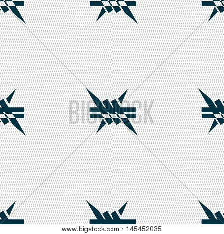 Barbed Wire Icon. Sign. Seamless Pattern With Geometric Texture. Vector