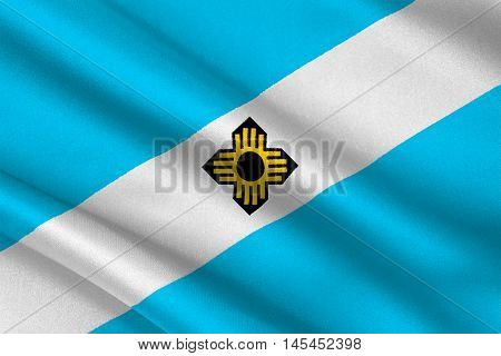 Flag of Madison is the capital of Wisconsin State United States. 3D illustration