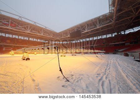 MOSCOW - DEC 25, 2014: Snowy Spartak stadium. Stadium capacity - 45 000 people. Stadium was built in 2010-2014