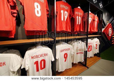 MOSCOW - DEC 25, 2014: T-shirts in shop in Spartak stadium. Stadium capacity - 45 000 people. Stadium was built in 2010-2018