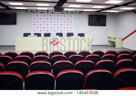 MOSCOW - DEC 25, 2014: Meeting room in Spartak stadium. New stadium is included in list of objects for games will be played at 2018 World Cup