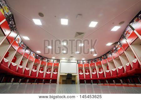 MOSCOW - DEC 25, 2014: Private room for football players in Spartak stadium. New stadium is included in list of objects for games will be played at 2018 World Cup