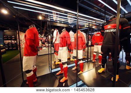 MOSCOW - DEC 25, 2014: Sport shop in Spartak stadium. Stadium capacity - 45 000 people. Stadium was built in 2010-2014