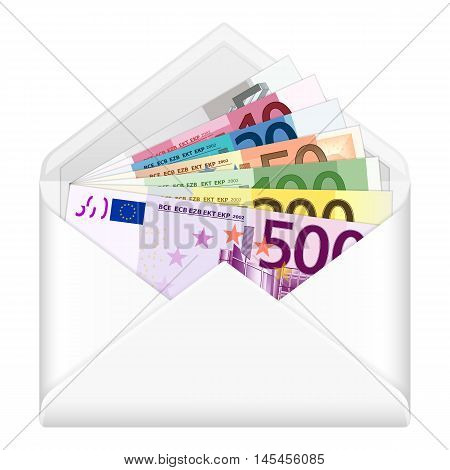 Open envelope containing euro banknotes on a white background. Vector illustration.