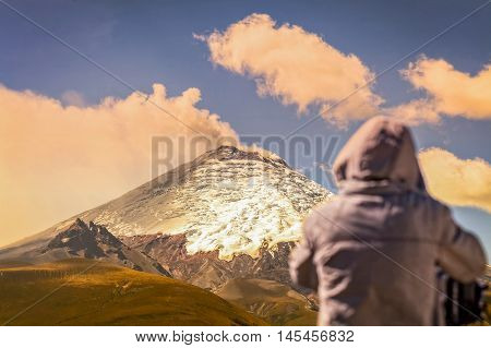 Silhouette Of Professional Photographer Posing A Powerful Day Explosion Of Cotopaxi Volcano Ecuador South America
