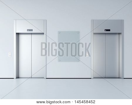 Blank billboard in the hall with two metal elevators. 3d rendering