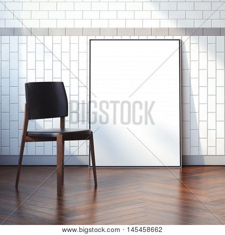 Interior with blank white canvas and modern chair. 3d rendering