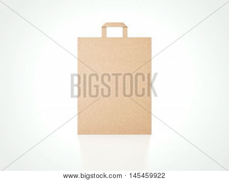 Brown paper bag in bright modern studio. 3d rendering