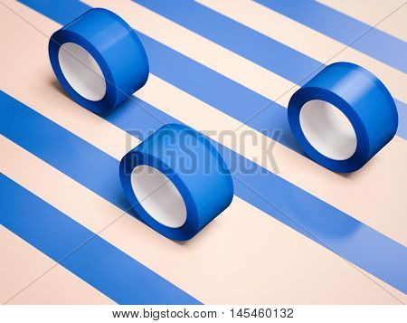 Five blue adhesive tapes on a bright floor. 3d rendering