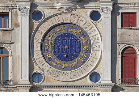 St Marks Clock With Zodiac Dial in Venice Italy.