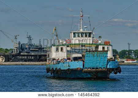 Baltiysk, Russia - June 29, 2010: : Nida ferry boat on Baltic Spit for cars and people. Kaliningrad region