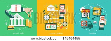 Flat vector illustration of bisines idea banking system tnternet banking use of bank e-shopping Contact Center