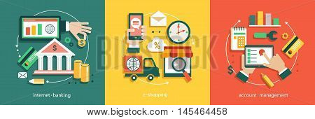 Flat vector illustration of bisines idea banking system tnternet banking e-shopping accounting.
