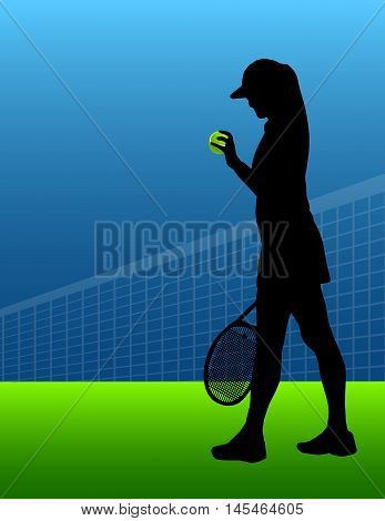 tennis background with ball and silhouette of woman or girl. vector