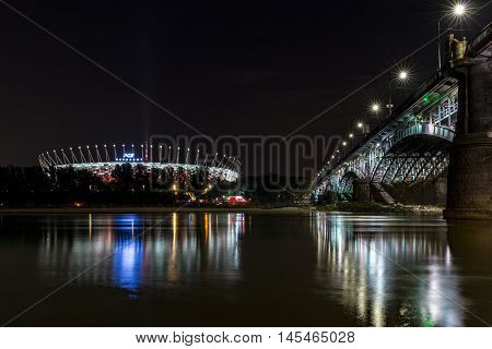 WARSAW POLAND - AUGUST 20 2016: Warsaw National Stadium during the night. Designed for UEFA EURO 2012 remains one of the most modern sport facility in Europe.