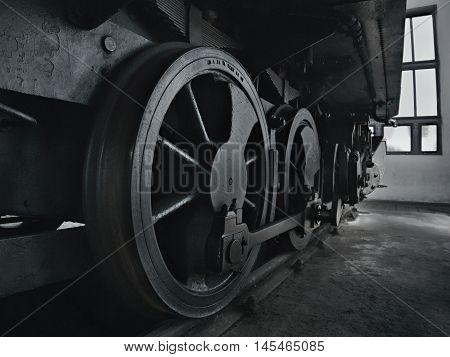 2016/08/28 - Chomutov Czech republic - big steel wheels of steam locomotive 310.0118