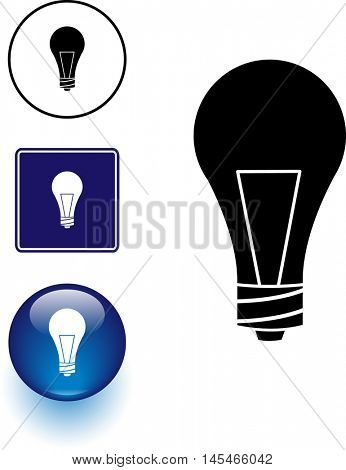 light bulb symbol sign and button