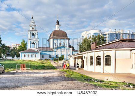 BELGOROD RUSSIA - August 31.2016: The territory of the Marfo-Mariinsky Convent. Pokrovsky Church and church shop
