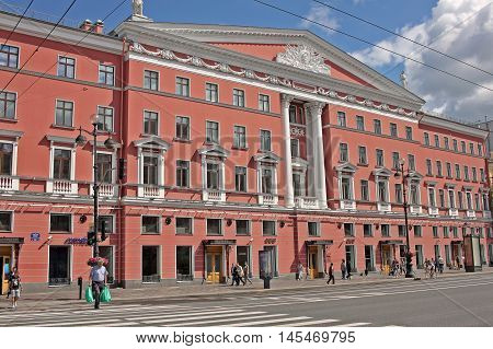 Saint Petersburg Russia - 14 July 2016: Literary hous - building on the Nevsky prospect. In XIX century here lived the famous writers.