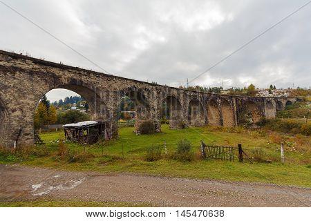 Old Austrian bridge viaduct in the Vorokhta Carpathians poster