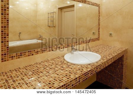 Fragment of a luxury bathroom.  Modern design.
