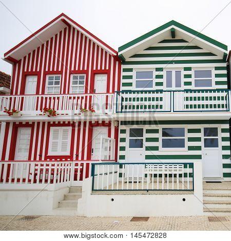 Traditional beach houses in Costa Nova a famous beach near Aveiro Centro Portugal