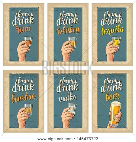 Male hand holding a glasses with beer tequila vodka rum whiskey. Vintage color vector flat illustration for label poster invitation to party and birthday. Isolated on blue background