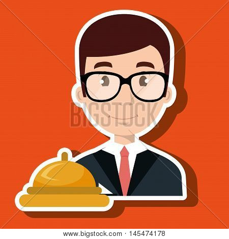 receptionist employee man hotel vector illustration design